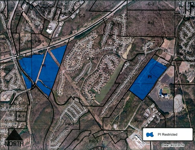Trace Crossings restricted industrial zoning map