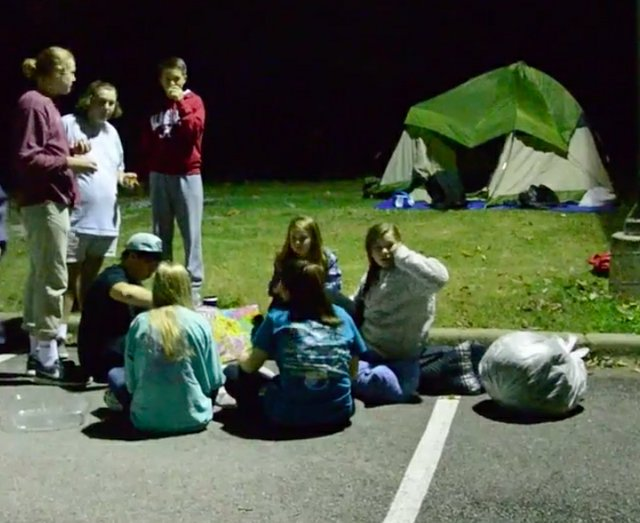 Bluff Park youth homeless campout 2015