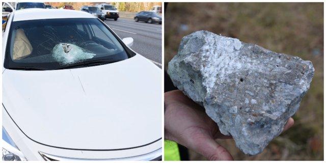 Vehicle rock damage 12-2-16
