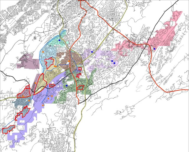 Hoover's elementary school zones by color