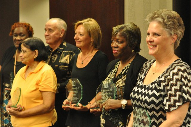 Retirees honored at board of educaiton meeting.