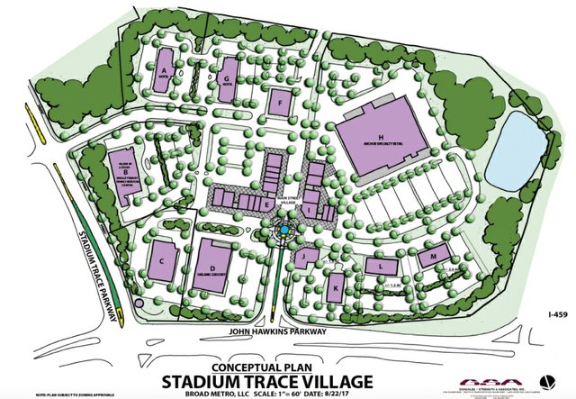 Stadium Trace Village conceptual plan 8-30-17