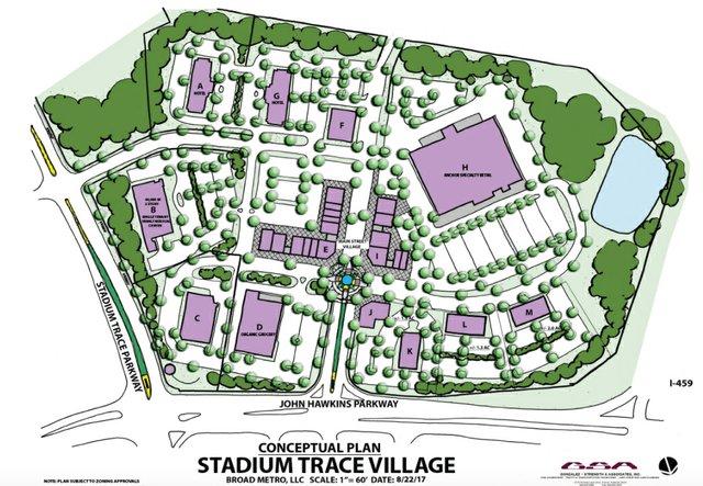 Stadium Trace Village conceptual plan 8-30-17