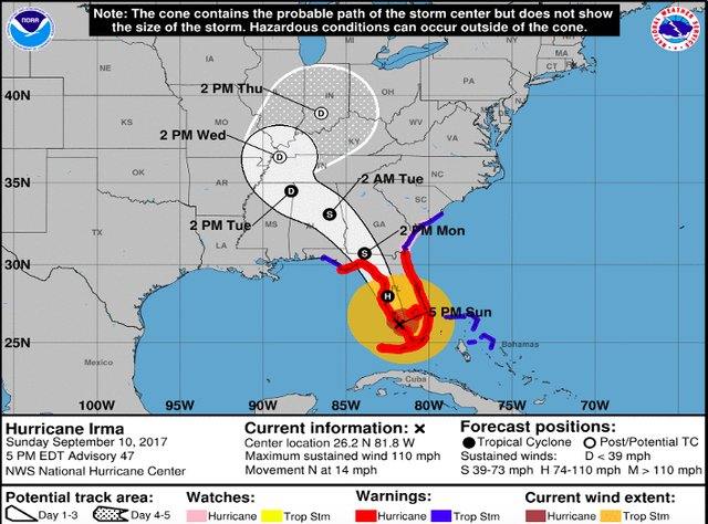Hurricane Irma Sunday 4 p.m.