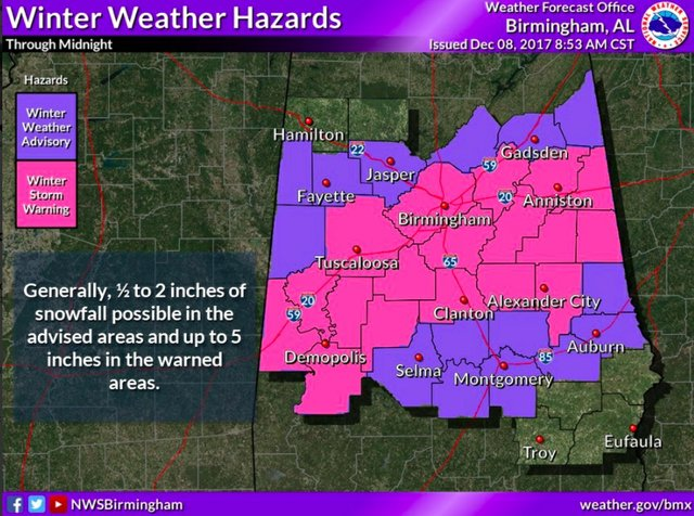winter weather map 12-8-17 8:53 am