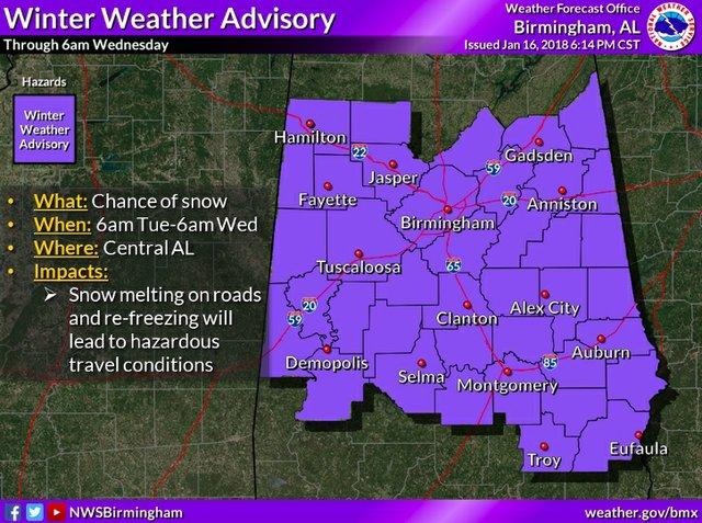 NWS winter advisory 1-16-17 6-14pm