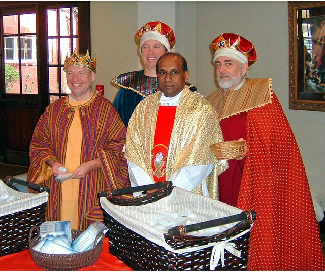 Epiphany Kings Visit PoP 8:30 am Mass on 1/4/14 - Alvie Allison, Mac Mullen, Fr. Peter, Boyd Mackey.  photo credit John Kremer.