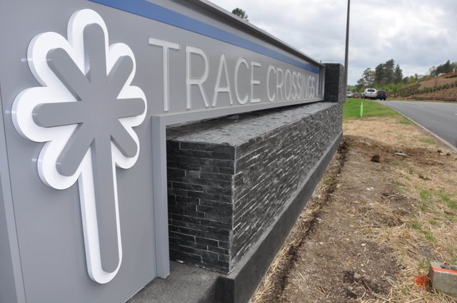 Trace Crossings entrance sign 4-5-19