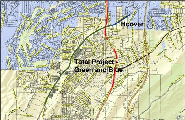 Valleydale Alabama 261 widening map