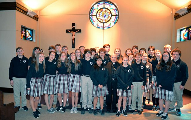 PoP School 2015 Confirmation Class with Bishop Emeritus David Foley on Ash Wednesday