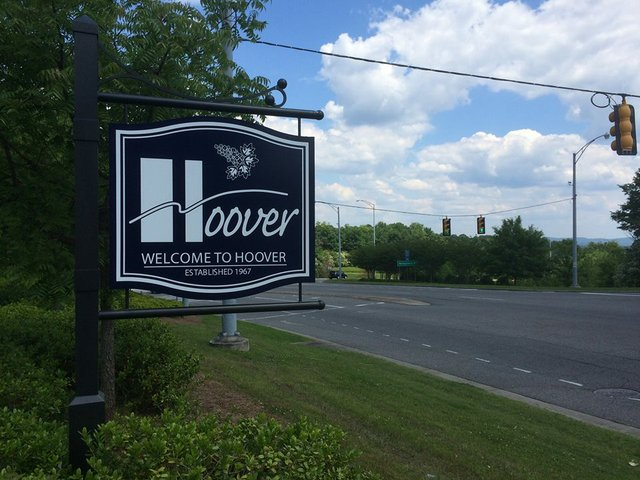 Welcome to Hoover sign