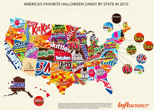 U.S. favorite candy map 2015