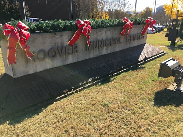 Hoover Municipal Center Christmas sign