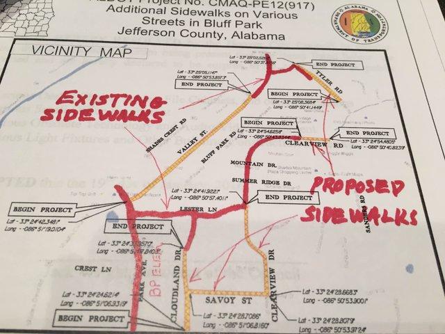 Bluff Park sidewalk map Jan 2016