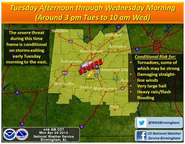 Severe weather expected April 28-29 4